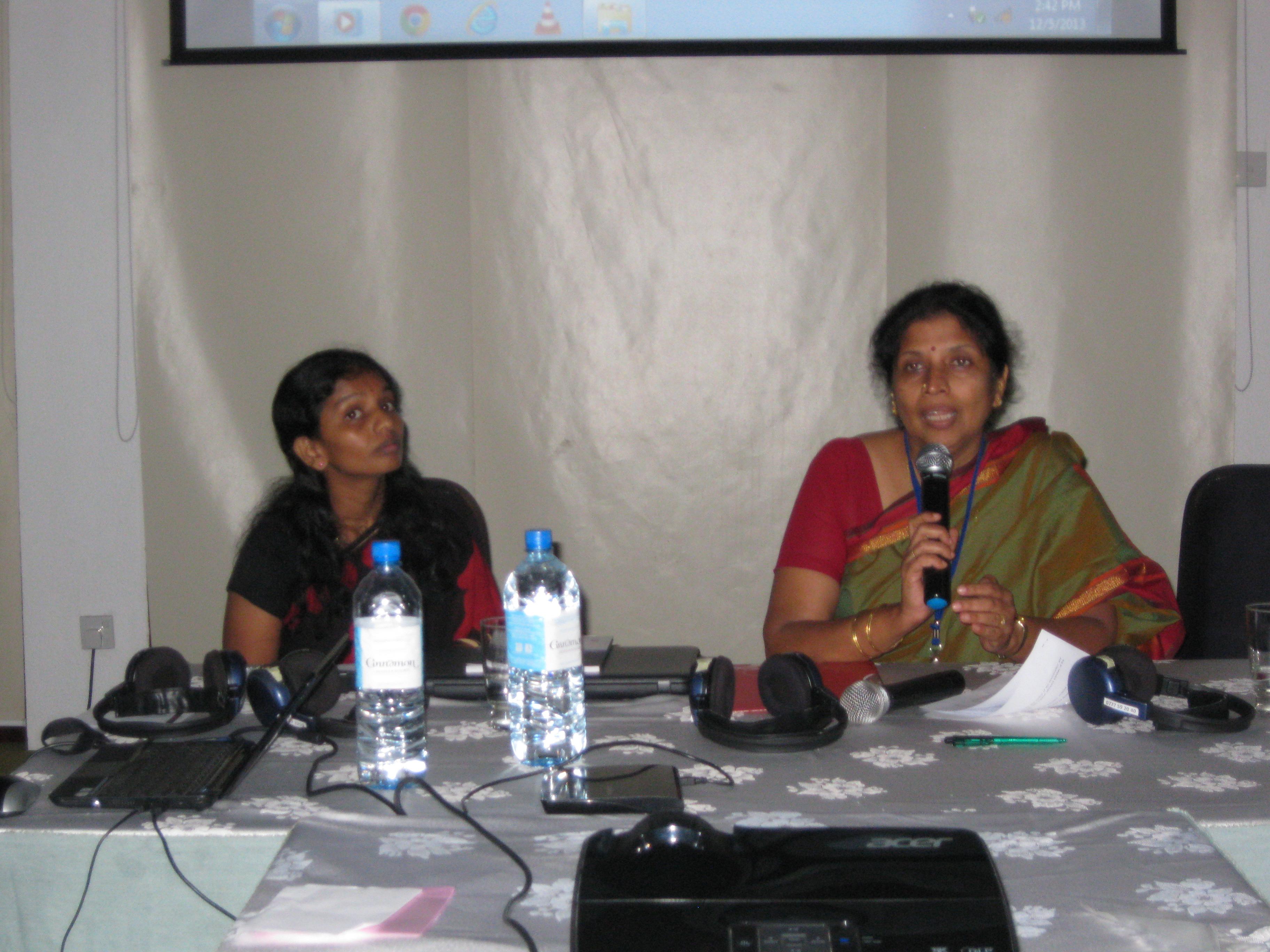 Shanthi Satchichithanandam of Viluthu moderating a session